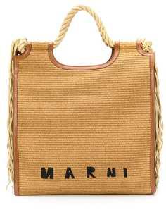 Marni сумка-тоут из рафии с бахромой