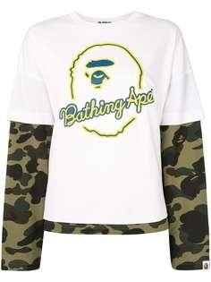 A BATHING APE® многослойная футболка с камуфляжным принтом