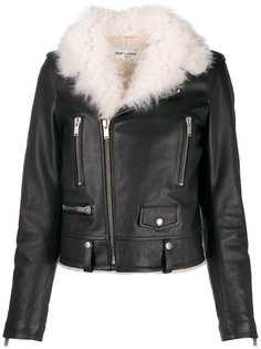 Saint Laurent байкерская куртка с воротником из овчины