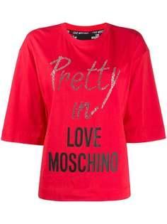 Love Moschino футболка с кристаллами