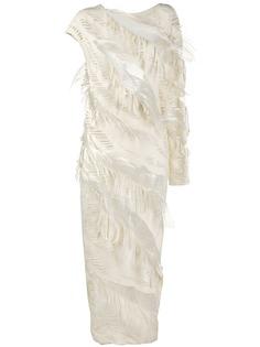 Gianfranco Ferré Pre-Owned длинное платье 1990-х годов с перьями