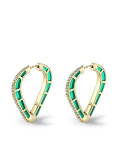 Andy Lif серьги-кольца Cobra из желтого золота с бриллиантами