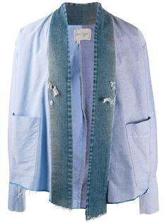 Greg Lauren куртка со вставками из денима
