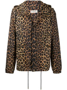 Saint Laurent куртка с капюшоном и леопардовым принтом