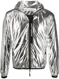 Paco Rabanne куртка с капюшоном и эффектом металлик