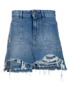 Diesel джинсовая юбка мини с эффектом потертости