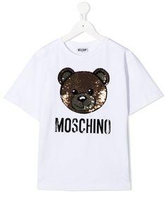 Moschino Kids футболка Teddy Bear с пайетками