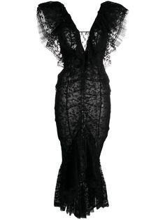 Alessandra Rich кружевное платье с цветочным узором и V-образным вырезом