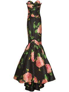 Richard Quinn атласное платье с узором в горох и цветочным принтом