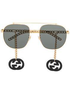 Gucci Eyewear солнцезащитные очки-авиаторы с подвесками