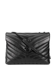 Saint Laurent стеганая сумка на плечо Loulou с логотипом