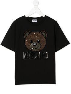 Moschino Kids футболка с пайетками