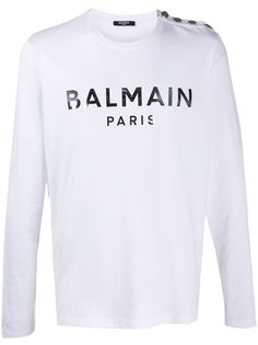 Balmain футболка с декоративными пуговицами и логотипом