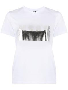 MSGM футболка с логотипом металлик