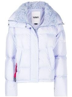 Yves Salomon куртка-пуховик с меховой оторочкой
