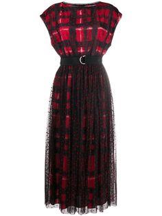 Ermanno Ermanno платье в клетку с поясом