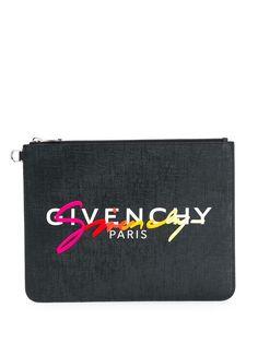 Givenchy клатч на молнии с вышитым логотипом