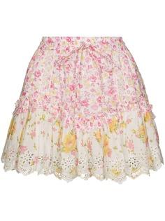 LoveShackFancy юбка мини Becca с оборками и цветочным принтом