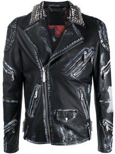 Philipp Plein байкерская куртка с эффектом потертости