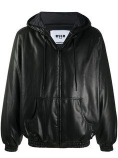 MSGM куртка из искусственной кожи с капюшоном