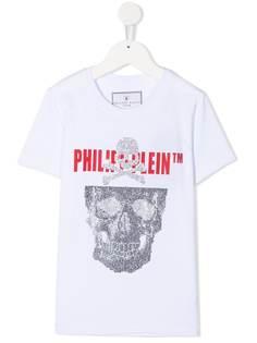 Philipp Plein Junior футболка с принтом Skull и кристаллами