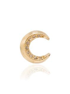 Lizzie Mandler Fine Jewelry единичная серьга в форме полумесяца из желтого золота с бриллиантами