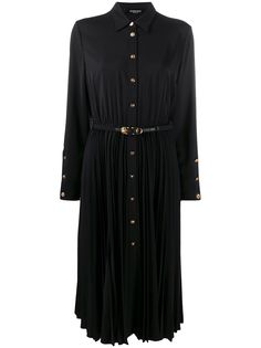 Versace платье-рубашка с плиссированной юбкой