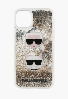 Чехол для iPhone Karl Lagerfeld 11 Pro Liquid glitter Karl and Choupette heads Hard Gold