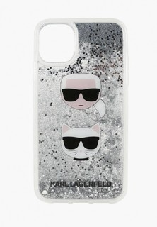 Чехол для iPhone Karl Lagerfeld 11 Liquid glitter Karl and Choupette heads Hard Silver