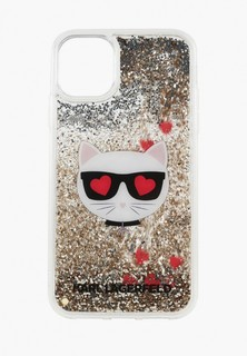 Чехол для iPhone Karl Lagerfeld 11 Liquid glitter Choupette head Hard Gold