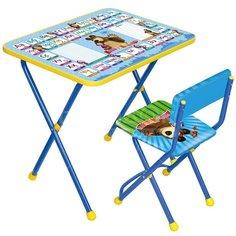 Набор детской мебели Nika Познайка2 Азбука2: Маша и медведь КП2/2 (стол, стул)