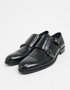 Черные кожаные монки Burton Menswear-Черный
