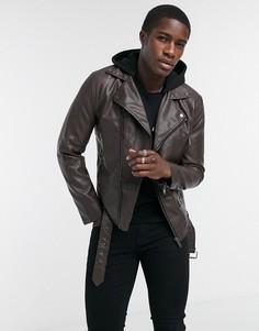 Коричневая байкерская куртка из искусственной кожиRiver Island-Коричневый