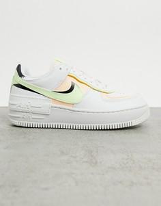 Кроссовки белого/розового/зеленого цвета Nike Air Force 1 Shadow-Белый