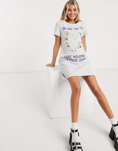 Серое платье мини с принтом Love Moschino-Серый