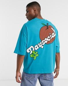 Футболка в стиле oversized с контрастной махровой аппликацией на груди и на спине ASOS Day Social-Зеленый