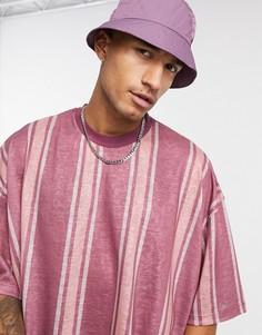 Бордовая oversized-футболка в полоску с рукавами 3/4 ASOS DESIGN-Мульти