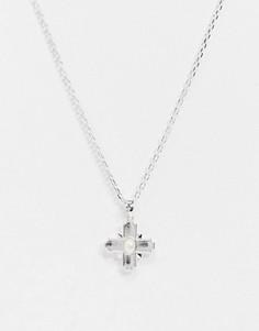 Серебристая цепочка с подвеской-крестом Chained & Able-Серебряный