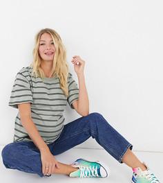 Шалфейно-зеленая футболка в черную полоску ASOS DESIGN Maternity-Мульти