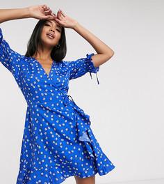 Платье мини с запахом и цветочным принтом Wednesdays Girl-Синий