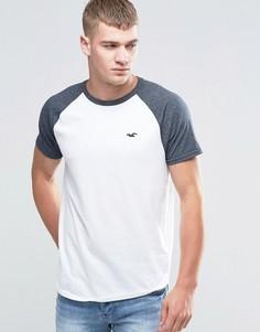 Черно-белая футболка с контрастными рукавами реглан Hollister-Белый