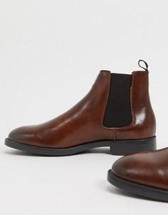 Коричневые ботинки челси из искусственной кожи на черной подошве ASOS DESIGN-Коричневый
