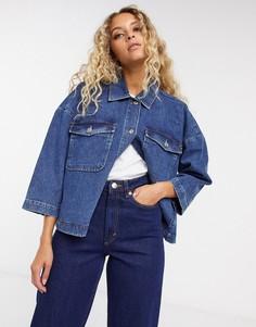 Темная джинсовая куртка Selected Femme-Синий
