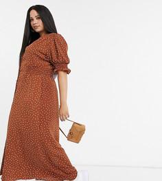 Чайное платье макси в горошек на пуговицах с присборенной талией ASOS DESIGN Curve-Мульти