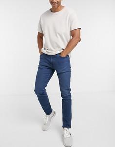 Суженные книзу узкие сине-черные джинсы Levis 512-Синий
