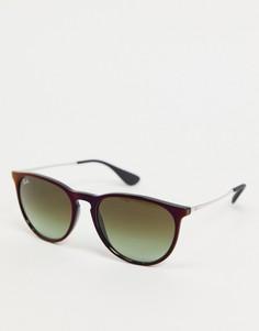 Серебристо-черные солнцезащитные очки в круглой оправе Rayban-Черный