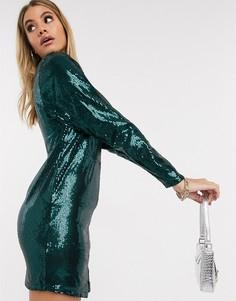 Зеленое платье мини с пайетками Ivyrevel-Зеленый