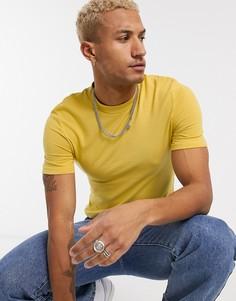 Желтая обтягивающая футболка из органического хлопкаASOS DESIGN-Желтый