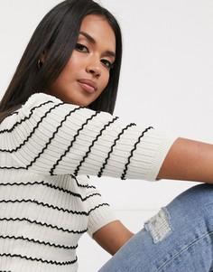 Черная короткая футболка с белыми полоскамиPimkie-Мульти