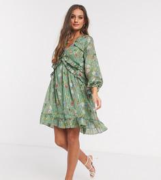 Приталенное платье мини с оборкой и цветочным принтом Y.A.S Petite-Мульти